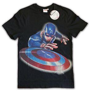 Captain-America-T-Shirt-Launched-the-Shield-black-versch-Groessen-Auswahl