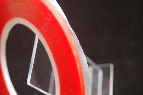 2MM X 33M rojo de doble cara cinta adhesiva transparente, Ultra Fuerte