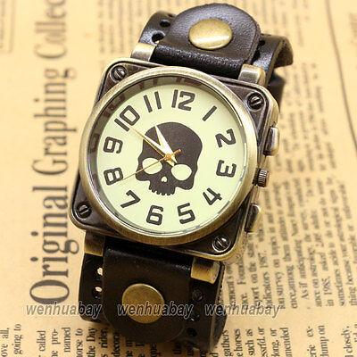 Vintage Leather Bracelet Quartz Wrist Skull Watch Men Cool Gift Black B2221