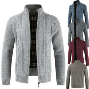 Men-039-s-Casual-Slim-Full-Zip-Thick-Knitted-Cardigan-Sweater-Jacket-Light-Gray-3XL
