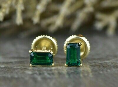 Emerald Cut Stud Earrings 14k Yellow Gold Over Sterling Silver