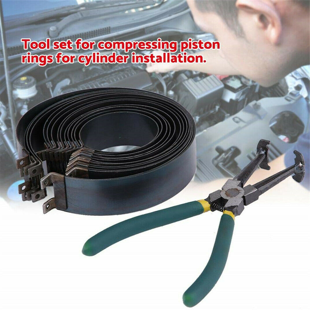 Professional Piston Ring Compressor Cylinder Installer with Plier & 14 Band Tool 2