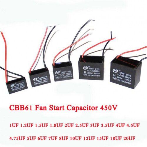 18//UF20UF CBB61 Fan Start Motor Running Capacitor 450V 1//1.2//1.5//2//2.5//3//3.5UF