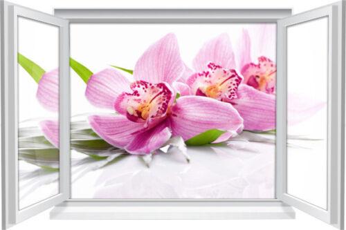 3D Fenster Wandbild Wandtattoo Aufkleber SPA Wellness Orchidee Wohnzimmer Deko