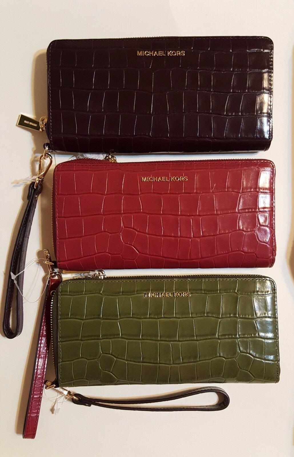 0ab37ddb0a42 Michael Kors 32f7gf6e4e Crocodile Embossed Travel CONTINENTAL Wallet Damson  for sale online | eBay
