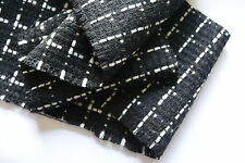 D206 LUXURIOUS 65%WOOL10%CASHMER15%C0TTON10%VISCOSE BLACK & WHITE BOUCLE CHECK