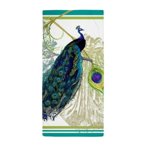 CafePress Vintage Peacock Bird Feathers Etchings Beach Towel 1390016241