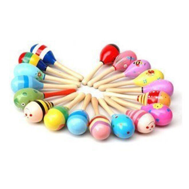 1PC Cute Baby Kids Sound Music Gift Toddler Rattle Musical Wooden Colorful Toy