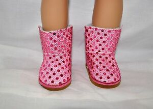 Fits-Our-Generation-American-Girl-Doll-18-034-Dolls-Clothes-Shoes-Pink-Sequin-Boots