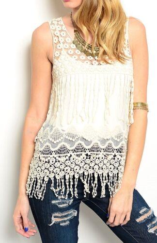 Open Crochet /& Mesh Lace Applique Fringed Sleeveless Tank Blouse Top