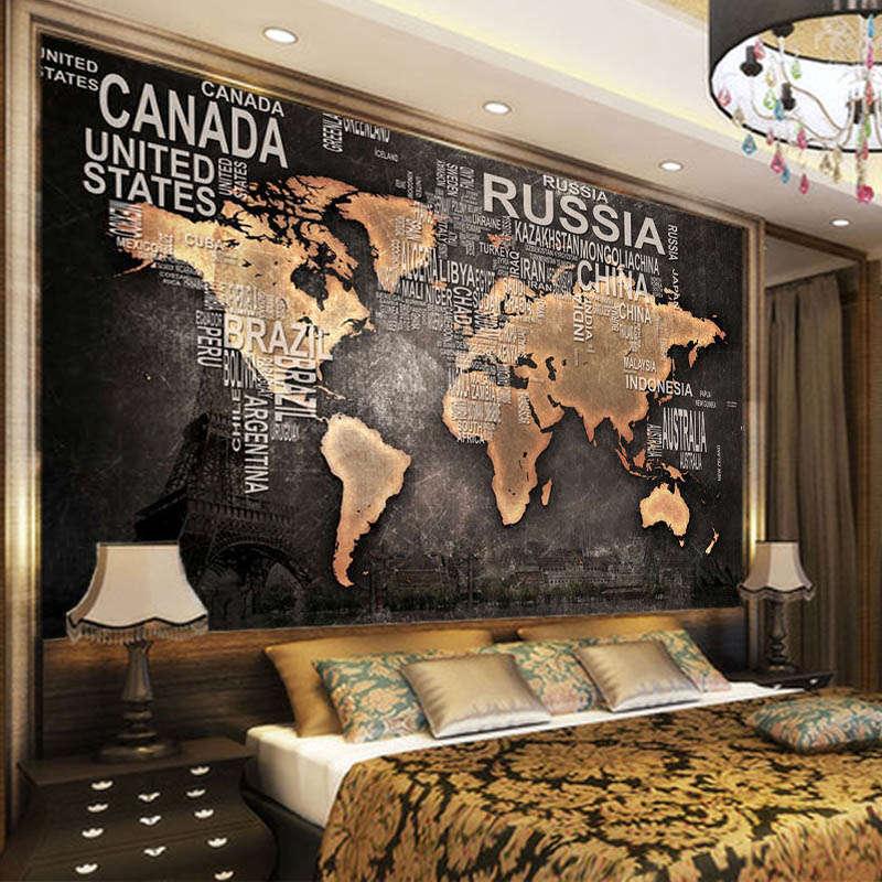 Tender Retro Map 3D Full Wall Mural Photo Wallpaper Printing Home Kids Decor