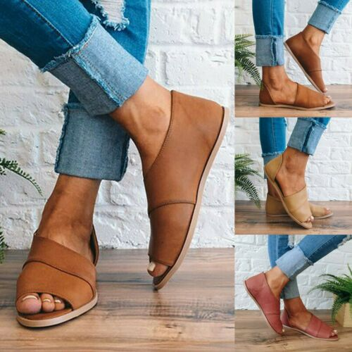 Women Slip-on Flat Heel Gladiator Sandals Flip Flops Ladies Leather Shoes Size