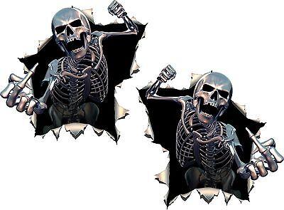 2x Skulls Skeleton Middle Finger Stickers Giving Punch Motorcycle Helmet Car #36