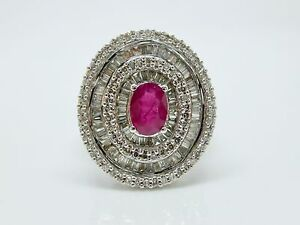 Ring-Weissgold-18-Karat-750-000-Diamanten-0-93CT-amp-Rubin-1CT-T54-8-30-G-R34897