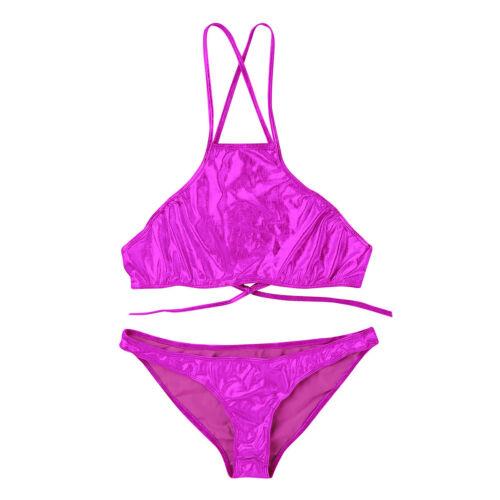Women Triangle Bikini Sets Crop Top Bra Top Thong Brief Bottom Swimwear Swimsuit