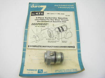 "Tomco 471 Stripped Thread Carburetor 3-piece Fuel Line Fitting 3//8/"" Line X 1/"""