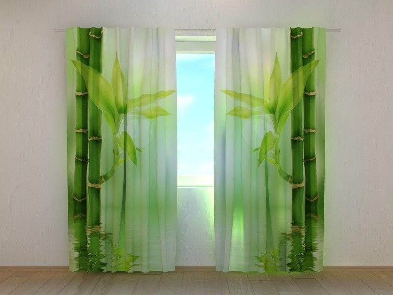 Cortina de Ventana verde Bambú wellmira Personalizado 3D Impreso Floral Dormitorio