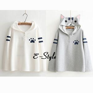 Cute-Cat-Pattern-Cap-hoodies-Spring-Autumn-Fresh-Fashion-Style-White-Gray
