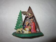 Christmas Holiday Vintage Mini Miniature Plastic Nativity Manger Display Scene