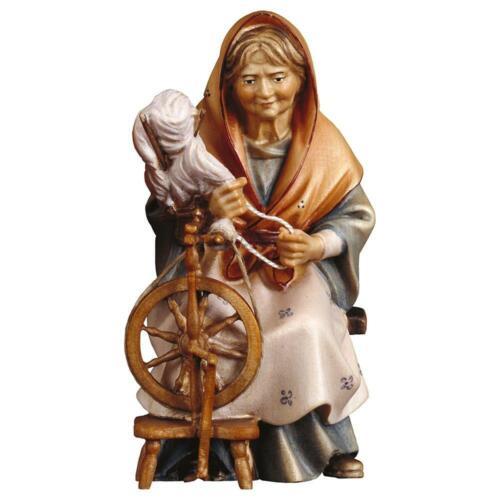 passend für 10cm Krippenfiguren Co Design Echtholz HI Alte Hirtin mit Spinnrad