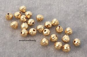 100 Brass Twisted Corrugated Metal Beads Round 18K Rose Gold Plated Spacer 3~6mm
