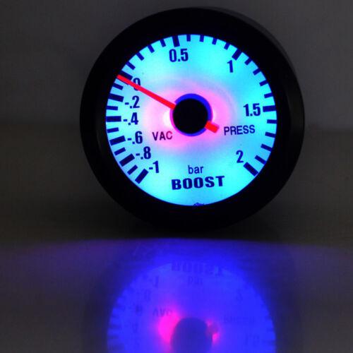 "Black Shell White Dial 2/"" 52mm Car LED Bar Turbo Boost Vacuum Gauge Meter"