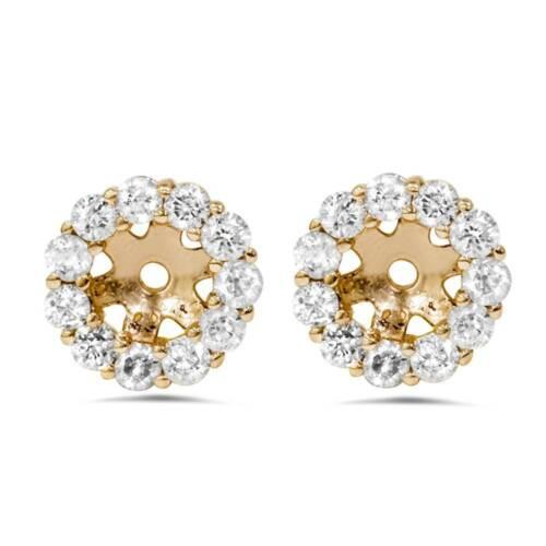 Halo Diamant Boucle d/'oreille Vestes 14K Or Jaune pour 1//4Ct de pierres 4 mm