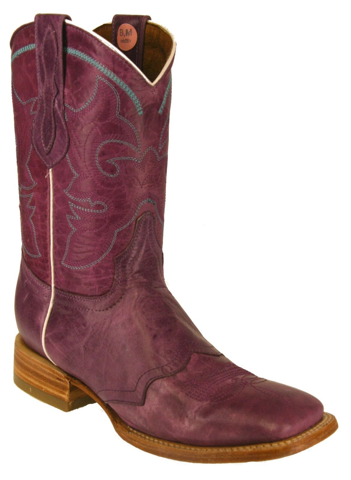 Women's New Leather Rodeo Cowboy Western Cowgirl Rodeo Leather Biker Boots Square Toe Purpule 55e4f9
