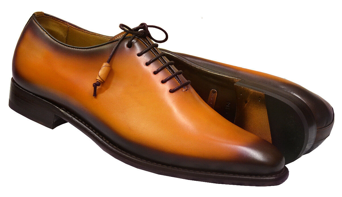 Mezlan Handmade camel or Plain Toe Oxford 8050 Eugene veau Lustré Chaussures