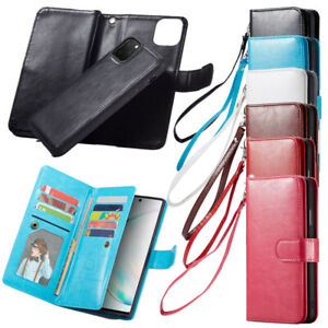 Leather Phone Cover Case Magnetic Wallet Purse Card Cash Holder Samsung iPhone