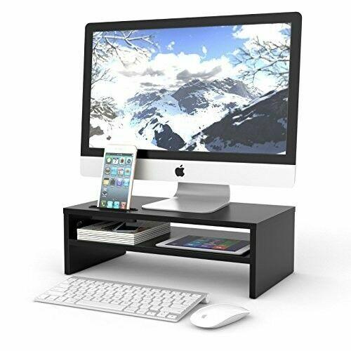 Wood Dual Monitor Stand Riser with Adjustable Length Multi Media Speaker TV P...