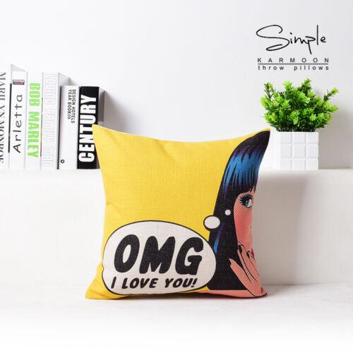 "Retro Pop Art USA Multi Car Plates Flax Linen Pillow Case Girl Cushion Cover 18/"""