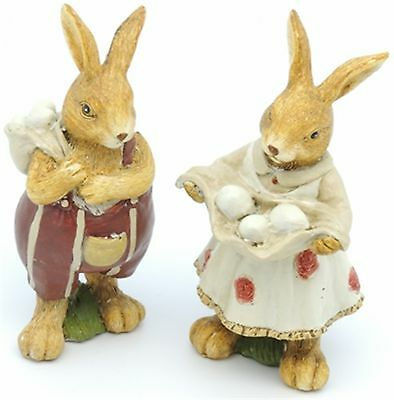 Rabbit Figurine Polyresin Easter Bunnies Male Female Delivering Eggs