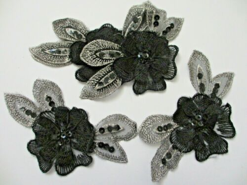 "6/"" Black and Metallic Silver Sequns Beaded FLOWER  Appliques 5 pieces"