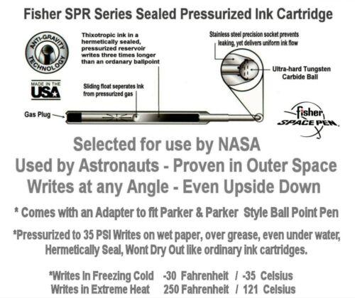 Ten Medium Point Refills Fisher Space Pen #SPR4 Black Ink 10