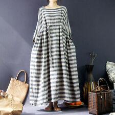 Women's Stripes 100% Linen Plus Size Long Dress Arab Caftans Loose Maxi Dresses