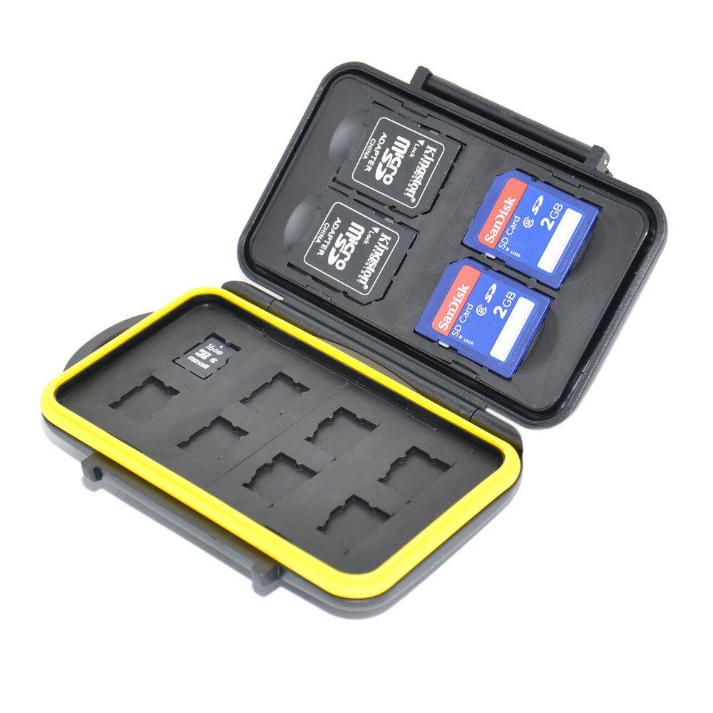 JJC MC-SDMSD12 Waterproof Memory Card Case for 4 SD + 8 Mirco SD Secure w/ lock