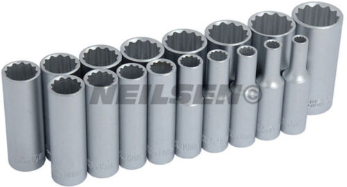 "12 point sockets 17 Piece deep socket set with holding rail 3//8/"" DRIVE"