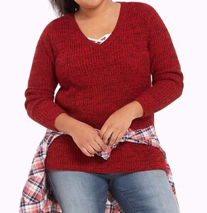 b5cc34e759 Torrid Marled Knit V Neck Tunic Sweater Red Plus Size  10 aka 00X 00 ...
