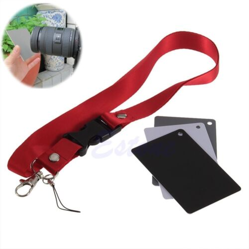 3 in 1 Digital White Black Grey Balance Cards 18/% Gray Card with Neck Strap NEW