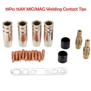 19Pcs-MB-15AK-MIG-MAG-Welding-Contact-Tips-0-8x25mm-M6-Gas-Nozzle-Shroud-HS1114