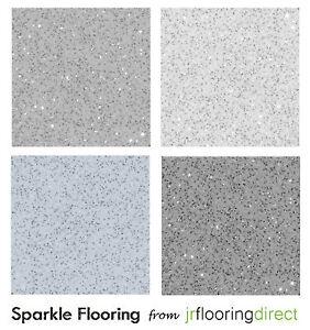 Grey Sparkly Flooring Glitter Effect Vinyl Floor
