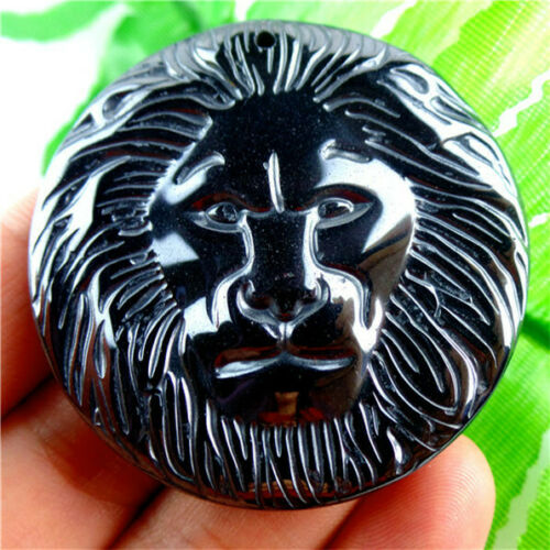Mesmerizing 44x8mm Carved Lion/'s Head Hematite Round Pendant Bead H-TS182