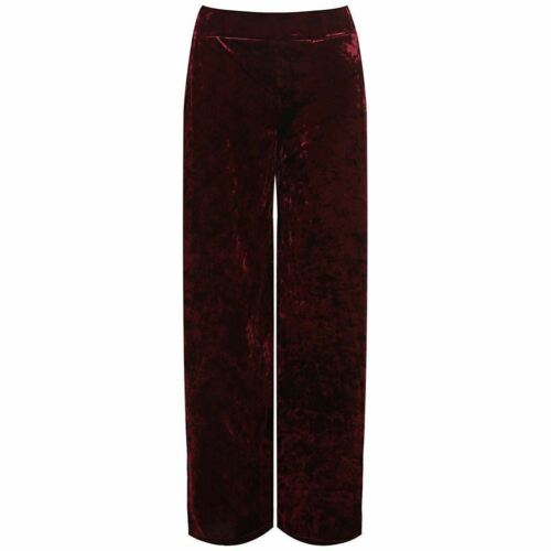 Ladies Plus Size Velour Velvet Wide Flared Leg Pocket Pants Palazzo Trousers