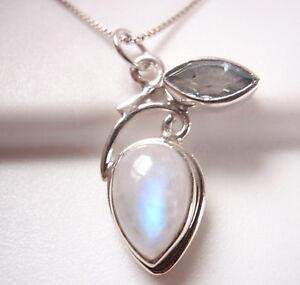 Moonstone 925 Sterling Silver Pendant Corona Sun Jewelry