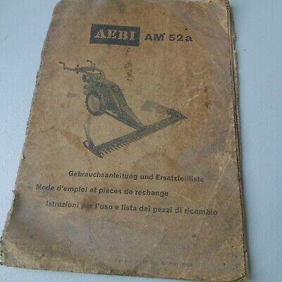 Livret D'entretien Et Pieces Détachées Faucheuse Aebi Am52a Good Taste Agriculture Équipements Professionnels