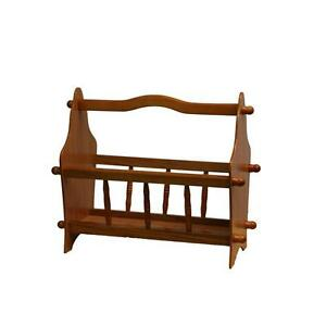 Oak-finish-Tiny-Magazine-Rack-with-Handle-and-Turned-Accents
