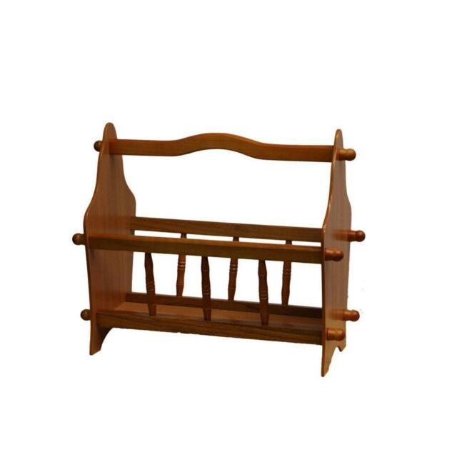 Oak finish Tiny Magazine Rack with Handle and Turned Accents
