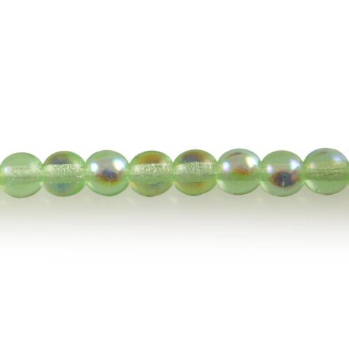 Peridot Green AB 100 4mm Round Pressed Czech Glass Druk Beads