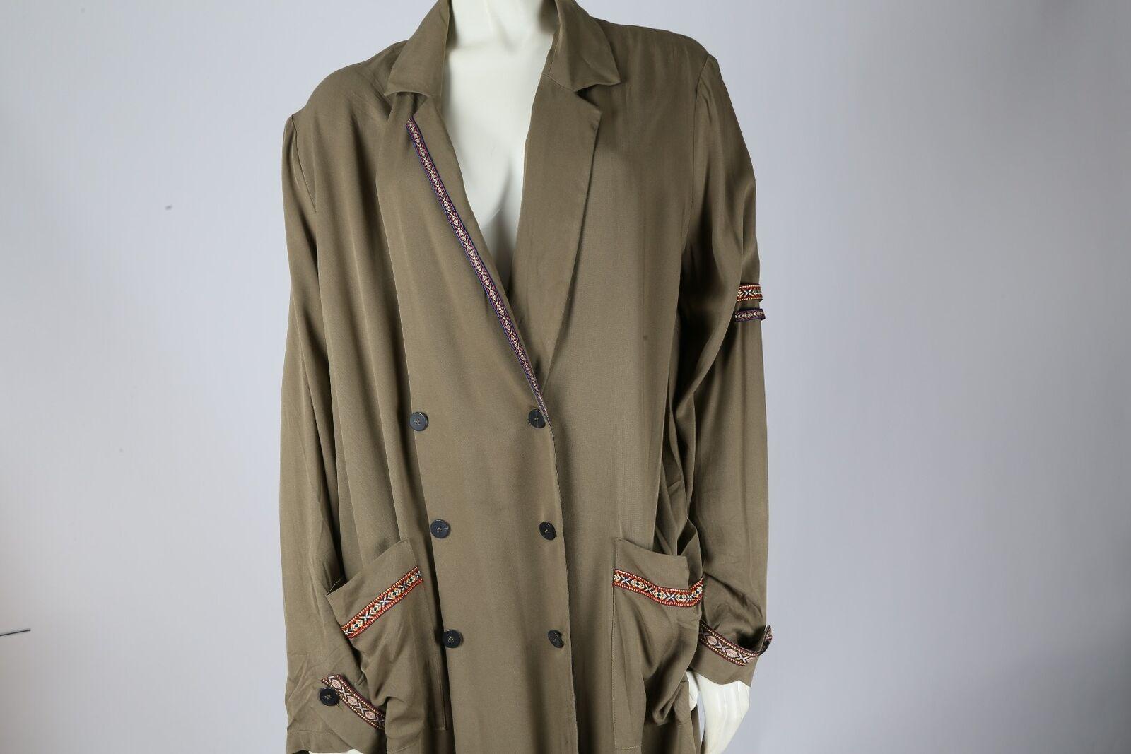 MANGO Olive Green Oversized Wrap Long Trench Coat… - image 4
